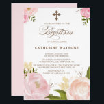 """Romantic Watercolor Flowers &amp; Cross Baptism Card<br><div class=""""desc"""">Whimsical and elegant floral baptism invitation featuring hand-drawn watercolor illustrations of pink peonies,  perfect for spring events. Similar items and matching items are available in my store.</div>"""