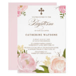 Romantic Watercolor Flowers &amp; Cross Baptism Card<br><div class='desc'>Whimsical and elegant floral baptism invitation featuring hand-drawn watercolor illustrations of pink peonies,  perfect for spring events. Similar items and matching items are available in my store.</div>