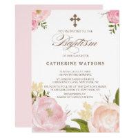 Romantic Watercolor Flowers & Cross Baptism Card