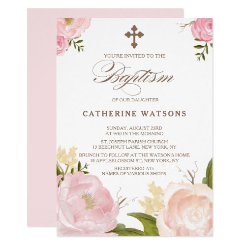 Romantic Watercolor Flowers  Cross Baptism Invitation