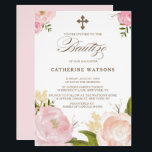 "Romantic Watercolor Flowers &amp; Cross Bautizo Invitation<br><div class=""desc"">Whimsical and elegant floral baptism invitation featuring hand-drawn watercolor illustrations of pink peonies,  perfect for spring events. Similar items and matching items are available in my store.</div>"