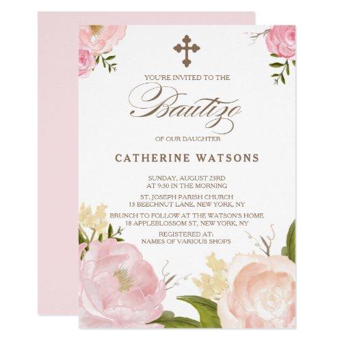 Romantic Watercolor Flowers  Cross Bautizo Invitation