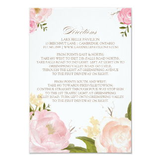 Romantic Watercolor Flowers Directions Card