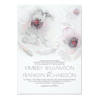 Romantic Watercolor Flowers Grey and Pink Wedding Card
