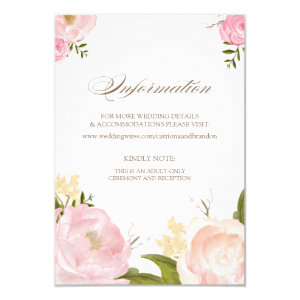 Romantic Watercolor Flowers Information Card 3.5