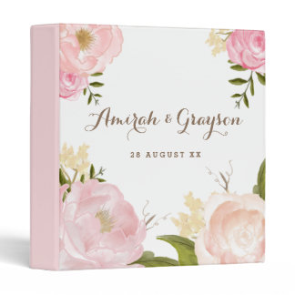 Romantic Watercolor Flowers Personalized Binder