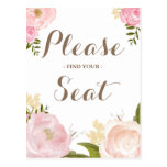 Romantic Watercolor Flowers Please Find Your Seat Postcard