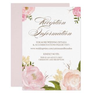 Romantic Watercolor Flowers Reception Card