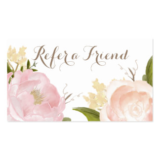 Romantic Watercolor Flowers Refer a Friend Card Business Card