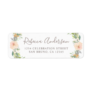 Romantic Watercolor Flowers Return Address Label