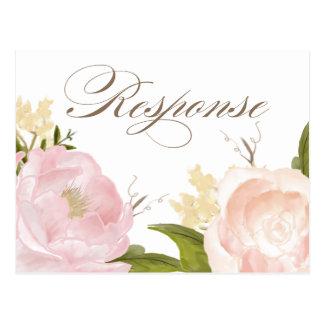 Romantic Watercolor Flowers RSVP II Postcard