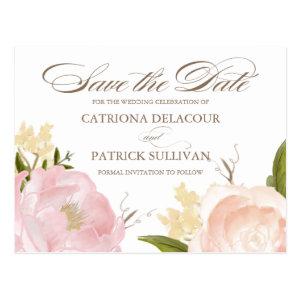 Romantic Watercolor Flowers Save the Date Postcard Postcard