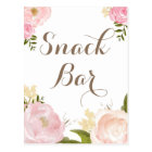 Romantic Watercolor Flowers Snack Bar Sign Postcard