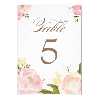 Romantic Watercolor Flowers Table Numbers Card Invites