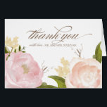 """Romantic Watercolor Flowers Thank You Card<br><div class=""""desc"""">Whimsical wedding thank you card featuring lovely watercolor illustrations of peonies and rose. This is a part of a wedding suite. Matching items are available.</div>"""