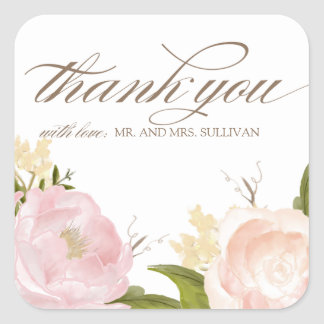 Romantic Watercolor Flowers Thank You Sticker