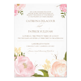Romantic Watercolor Flowers Wedding Invitation II