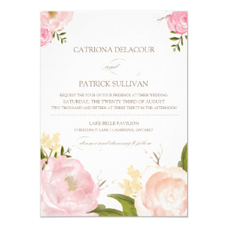 Romantic Watercolor Flowers Wedding Invitation III