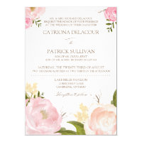 Romantic Watercolor Flowers Wedding Invitation IV