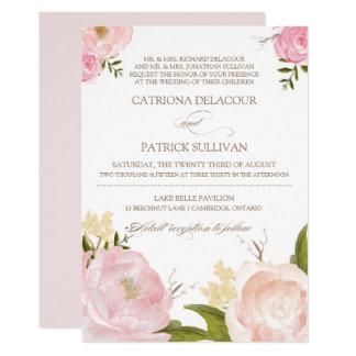 Romantic Watercolor Flowers Wedding Invitation V