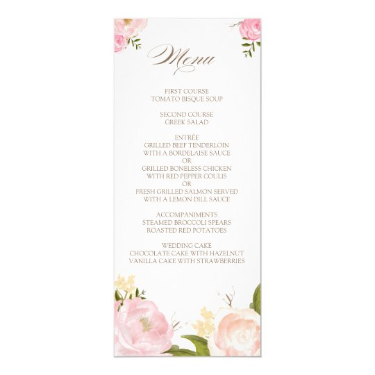 Romantic Watercolor Flowers Wedding Menu Card | Zazzle