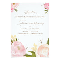 Romantic Watercolor Flowers Wedding Reception Card