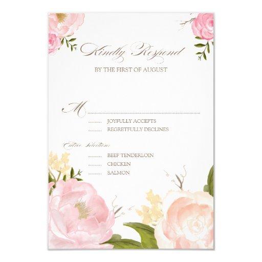 Romantic Watercolor Flowers Wedding RSVP...