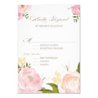 Romantic Watercolor Flowers Wedding RSVP Card Personalized Invitation