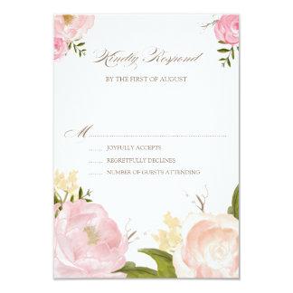 Romantic Watercolor Flowers Wedding RSVP Card Invitations