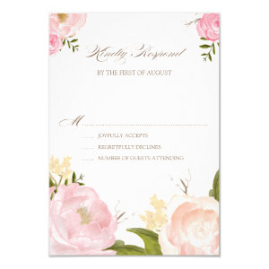 Romantic Watercolor Flowers Wedding RSVP Card 3.5