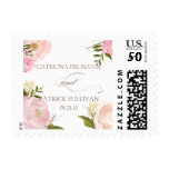 Romantic Watercolor Flowers Wedding Stamp<br><div class='desc'>Whimsical wedding stamp featuring lovely watercolor illustrations of peonies and rose. This is a part of a wedding suite. Matching items are available.</div>