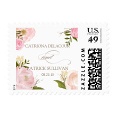 Romantic Watercolor Flowers Wedding Stamp at Zazzle
