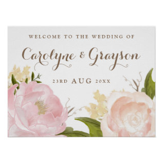 Romantic Watercolor Flowers Wedding Welcome Sign at Zazzle