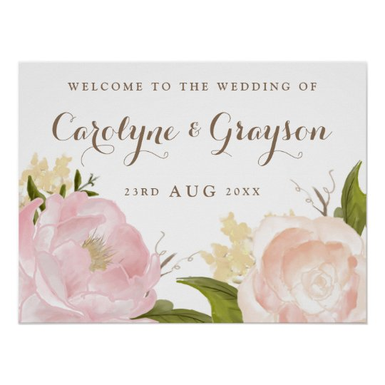 Romantic Watercolor Flowers Wedding Welcome Sign