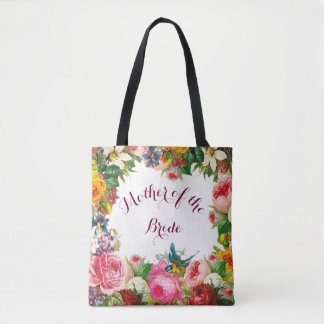 Romantic Watercolor Flowers with your Initials Tote Bag