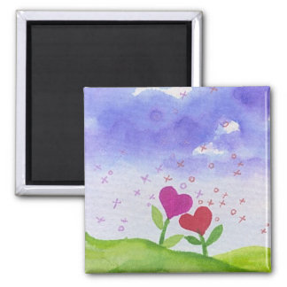 Romantic Watercolor Heart Flowers 2 Inch Square Magnet