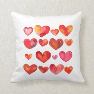 Romantic watercolor heart pattern throw pillow