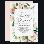 """Romantic Watercolor Peach Florals Bridal Brunch Invitation<br><div class=""""desc"""">Romantic Watercolor Peach Florals Bridal Brunch Invitation. Customizable bridal brunch invitation featuring elegant script,  watercolor peach and ivory peonies and roses with greenery accents. The perfect invitation for spring and summer events. Matching items are available.</div>"""