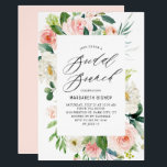 "Romantic Watercolor Peach Florals Bridal Brunch Invitation<br><div class=""desc"">Romantic Watercolor Peach Florals Bridal Brunch Invitation. Customizable bridal brunch invitation featuring elegant script,  watercolor peach and ivory peonies and roses with greenery accents. The perfect invitation for spring and summer events. Matching items are available.</div>"