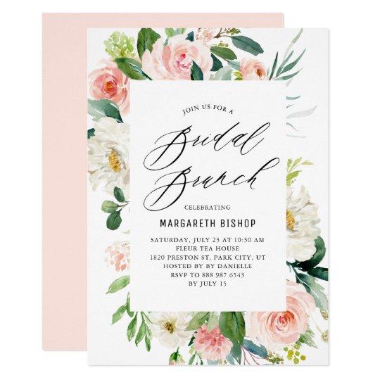 romantic watercolor peach florals bridal brunch invitation zazzle com
