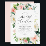 """Romantic Watercolor Peach Florals Bridal Luncheon Invitation<br><div class=""""desc"""">Romantic Watercolor Peach Florals Bridal Luncheon Invitation. Customizable bridal luncheon invitation featuring elegant script,  watercolor peach and ivory peonies and roses with greenery accents. The perfect invitation for spring and summer events. Matching items are available.</div>"""