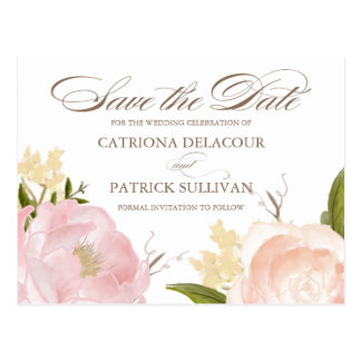 Romantic Watercolor Peonies Save the Date Postcard