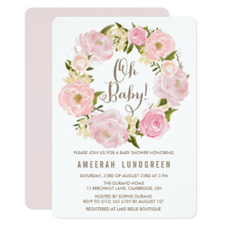 Romantic Watercolor Peonies Wreath Baby Shower Card