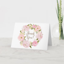 Romantic Watercolor Peonies Wreath Thank You