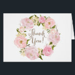 """Romantic Watercolor Peonies Wreath Thank You Card<br><div class=""""desc"""">Whimsical and romantic thank you card featuring watercolor illustrations of blush pink roses and peonies wreath. Matching items are available.</div>"""