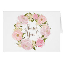 Romantic Watercolor Peonies Wreath Thank You Card