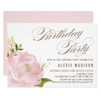 Romantic Watercolor Peony Flower Birthday Party Invitation