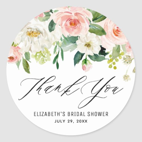 Romantic Watercolor Pink Peach Florals Thank You Classic Round Sticker