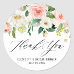 """Romantic Watercolor Pink Peach Florals Thank You Classic Round Sticker<br><div class=""""desc"""">Watercolor Pink Peach Florals Thank You Sticker. Feminine and romantic thank you sticker featuring watercolor pink and white flowers and greenery bouquets. The floral thank you sticker is fully customizable for any event. Perfect as a finishing touch to cards and party favors.</div>"""