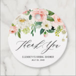"""Romantic Watercolor Pink Peach Florals Thank You Favor Tags<br><div class=""""desc"""">Romantic Watercolor Pink Peach Florals Thank You Favor Tags 